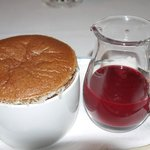 Chocolate Souffle with Raspberry sauce
