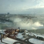 view of the falls from our room on the 22nd floor.
