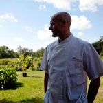 Executive Chef Eddy in the Organic, Sustainable Garden