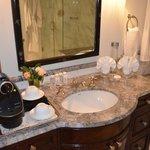 Bathroom sink and Nespresso maker