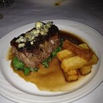 Northeast Family Farm cut Ribeye Au Poivre, Torched Boucher Blue Cheese