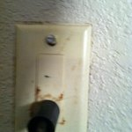Filthy Outlet cover, loose in the wall
