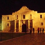 alamo at night. rare that there arent lots of people in front, it was cold!