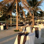 Wedding reception between pool and beach