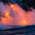 Close up of lava entering the ocean