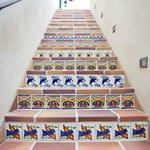 Tile on stairway's
