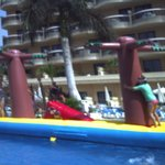 giant float brought to pool one day for daytime entertainment, great fun