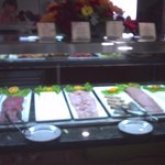 selection of cold meats and hams at buffet