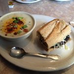 Portobello mushroom sandwich with potato soup