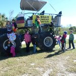 Kids on swamp truck