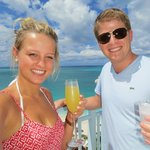 Jordynn and I on balcony - Mimosa in hand!