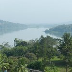 View of the Chagres river and rainforest in the morning mist taken from our balcony