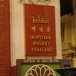 Sign outside Kopitiam