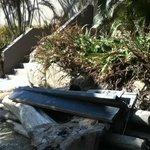toppled bench