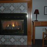 Foyer à gaz imitation cheminée feu de bois