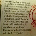 One of The Independents 50 best coffee shops. jan 2013.