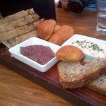 Bread board with delectable dips and pastes