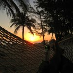 Hammock view at sunset on beach