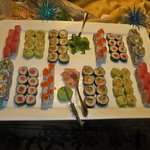 Sushi and champagne at Gladys' house