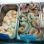 Fresh Jumbo Shrimp along with sidekick HUGE sea scallops!