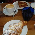 capuccino and almond croissant
