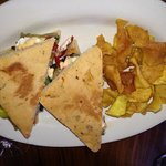 amazing vegetable sandwich on homemade foccia and sweet potato chips!!