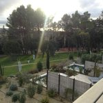 tennis court and hotel grounds