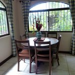 Dining area in our villa, with native flowers