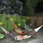 Enjoying the hammocks at night