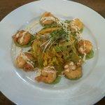 Prawns, noodles, pea & wasabi sauce