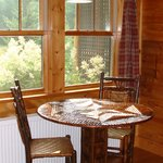 Dining nook with handcrafted table and chairs