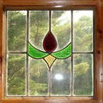 Stained glass window in foyer