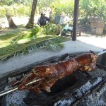 Pig on the Spit and Impromptu Basket Weaving Lesson