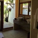 Panoramic view of bathroom with outdoor shower