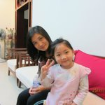 Thuy with dauther-thỏ