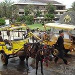 ホテルの前。島内は馬車(1回Rp75,000。高い!)またはレンタル自転車(1日Rp75,000)での移動のみ。
