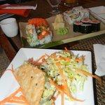 Tuna Taco, Salmon Sashimi, Salmon Roll, Spicy Tuna Roll, California Roll