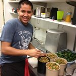 ezequiel finishing his daily batch of famous salsa!
