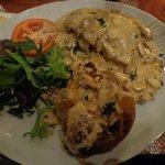 Steak with cream and mushroom sauce