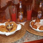 Rum Punch, Onion Rings, and Conch Fritters - Yummm!