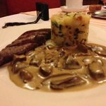 grilled deer with chanterelle sauce and mash
