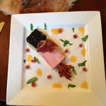 Black pudding and ham with chorizo oil