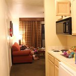 kitchenette & view into living room area
