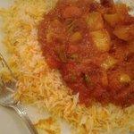 Lovely hot balti with mushroom rice.