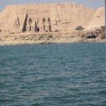 Abu Simbel from Lake Nasser -- you can rent a boat at Eskaleh Eco Lodge