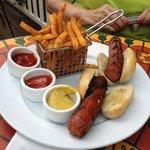 The footlong hotdog on a lobby bun.