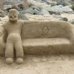 Sandskulptur in der Nähe des Faro (Dezember 2012)
