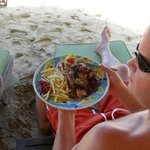 Jerk chicken on the beach