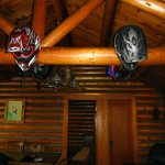 inside the cabin, helmets are hanging on deer hooves :P