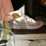Chicken croquettes served in a glass slipper dish!
